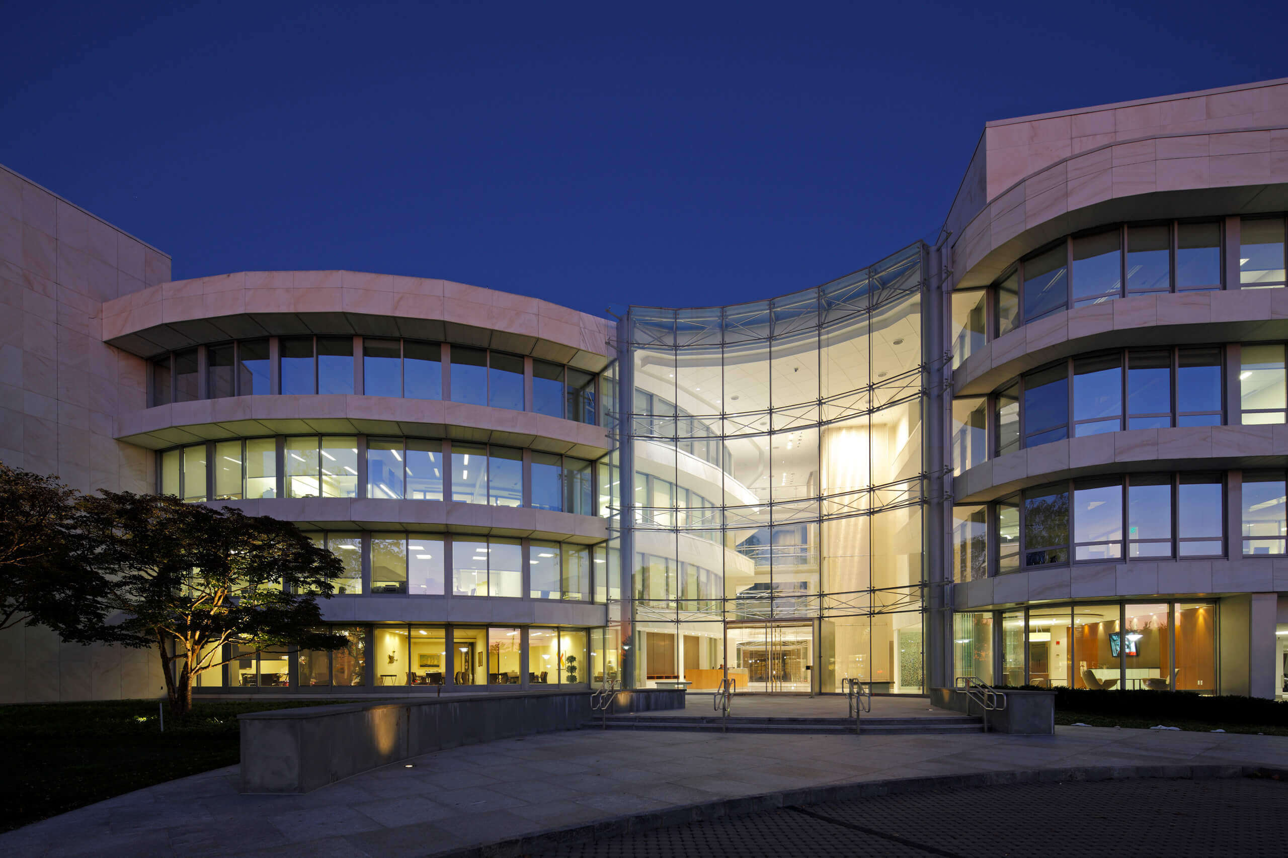 Evening/Night Shot of Office Building in Greenwich CT, for Antares Development