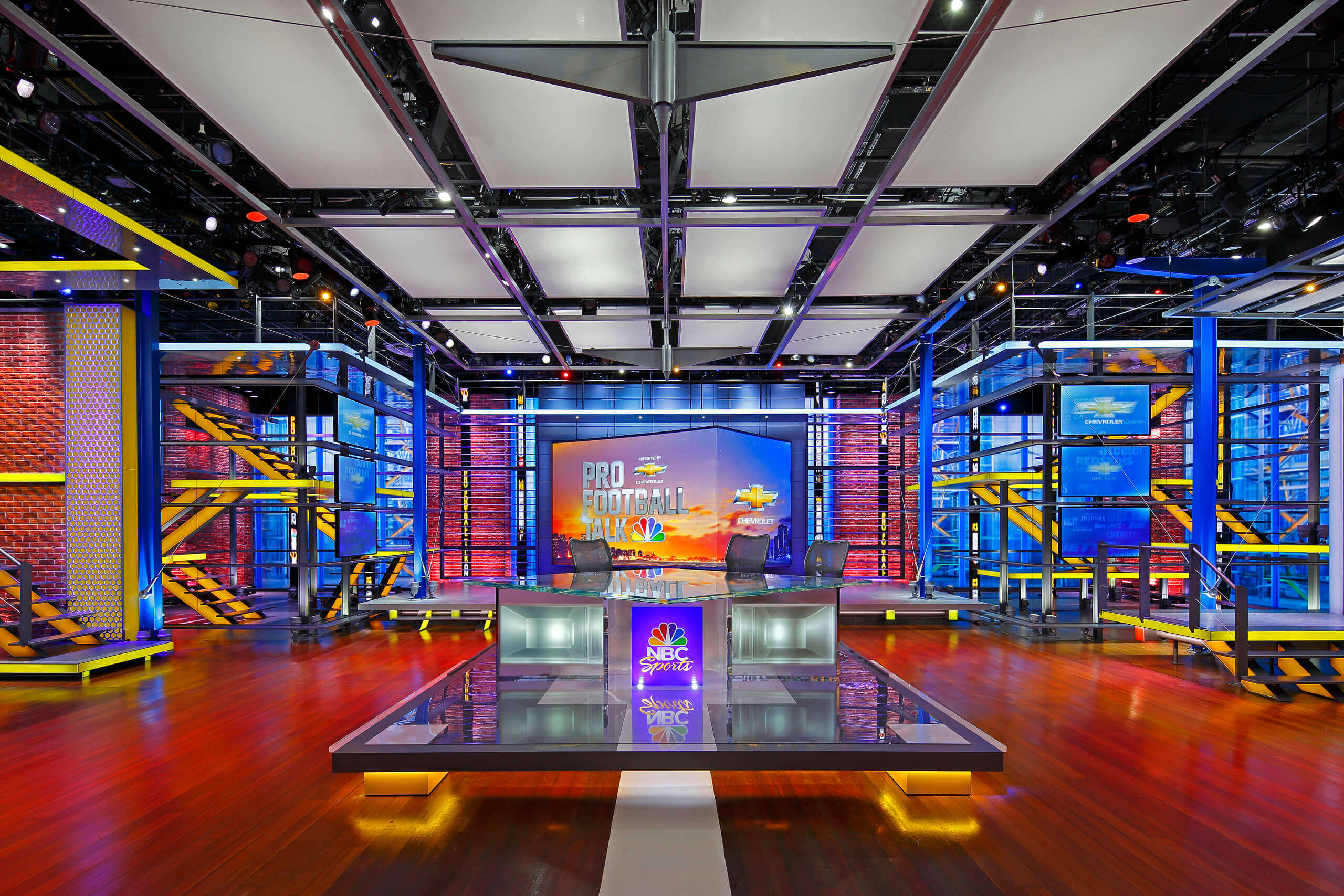 Colorful interior photo of NBC Sports TV Studio Set in Stamford, CT